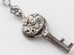 swarovski crystal flower necklace images Victorian skeleton key necklace with silver filigree watch jpg