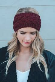 knitted headband gemma cable knit headband maroon crocheted headbands cold