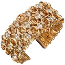 crystal rhinestone cuff bracelet images Hattie carnegie c 1960 39 s gold marquise crystal rhinestone wide jpg