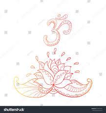 Lotus Flower With Om Symbol - lotus flower silhouette symbol om water stock vector 413974546