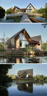 ideas about alquiler bungalows pinterest this new modern house covered wood shingles has pitched roofs separate boat shed