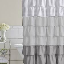 Ruffled Shower Curtain Shower Curtain Cascading Ruffles Custom Designer Fabric Black