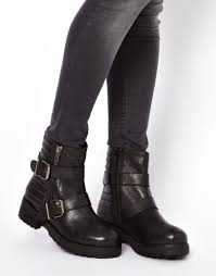 leather boots biker asos applaud leather biker boots in black lyst