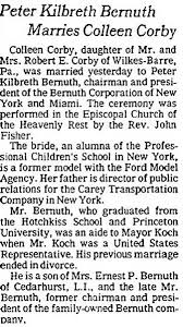 new york times wedding announcement k bernuth marries colleen corby new york times august 22