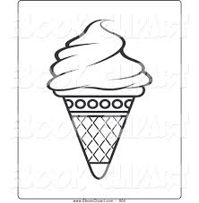 vector clip art of a tasty black and white ice cream cone coloring