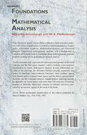 foundations of mathematical analysis dover books on mathematics