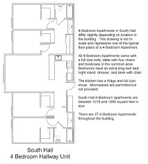 5 Bedroom Apartment Floor Plans by South Hall Floor Plans Residential Life Plu