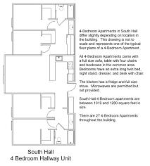 south hall floor plans residential life plu south hall 4 bedroom corner unit