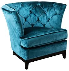 Teal Blue Accent Chair Anabella Fabric Tufted Sofa Chair Contemporary Armchairs And