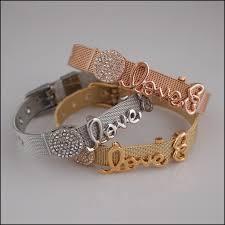 bracelet mesh images Mesh slide charm bracelet love ebay JPG