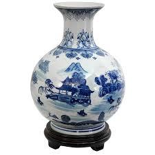 Blue Bottle Vase Amazon Com Oriental Furniture 12