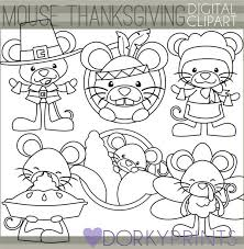 blackline mouse thanksgiving clipart dorky doodles