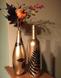 wine bottle halloween upcycled bottles set of 2 in gold color and leaf design fall