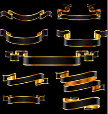 black and gold ribbon vector free vector in encapsulated