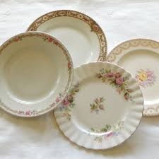 mismatched plates wedding rosebuds originals on wanelo