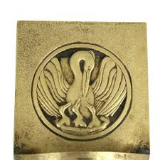 Catholic Home Decor Reserved For Ryan Art Deco Brass Holy Water Font With Stork And