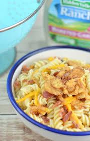 creamy bacon cheddar ranch pasta salad