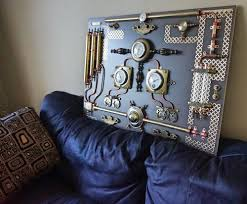modern abstract industrial art control panel steampunk wall art