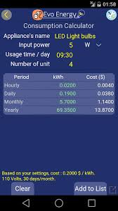 led light consumption calculator evoenergy electricity cost calculator free android programos