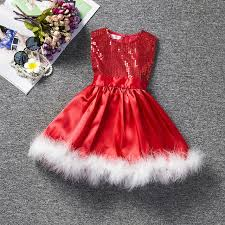 Sequins Christmas Dress 2018 Fashion Girl Kids Party Wear Dresses