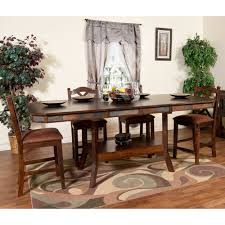 counter height gathering table santa fe wood double leaf gathering table stools in dark chocolate