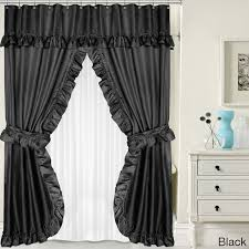 double swag 5 piece liner tie back and shower curtain set free