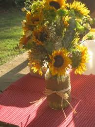 Centerpieces With Sunflowers by Reception Table Arrangements Sunflowers In Mason Jars With Burlap
