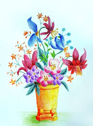 pictures pencil color drawing of flower vase drawing art gallery