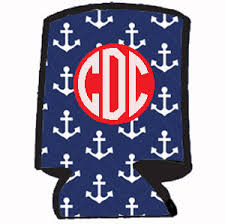 wedding koozie favors design your own monogrammed koozie anchor