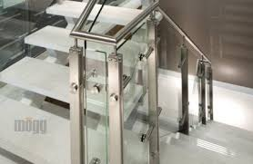 Steel Banister Rails Stainless Steel Glass Standoff Glass Deck Railing