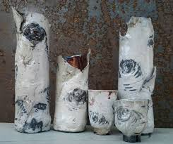 Birch Bark Vases Raku Ichibana Vases Based On Birch Bark Michael Gaudreau Artist