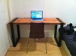 Handmade Office Furniture by Industrial Reclaimed Wood And Blackened Steel Desk Diy