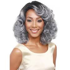 woodfestival grandmother grey wig ombre short wavy synthetic hair