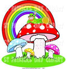 clip art of an irish leprechaun reclined atop a mushroom under a