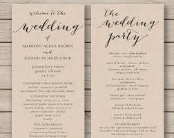 wedding program stationary wedding program template printable wedding program diy