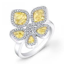 sunflower engagement ring 1 ct tw slice and white diamonds sunflower ring in 14k white gold
