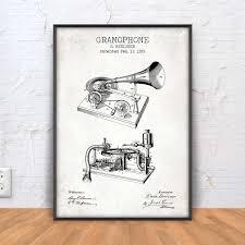 Music Decor by Gramophone Patent Print Gramophone Blueprint Gramophone
