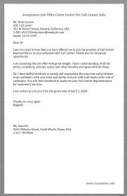Sample Resume For Call Center Representative by Here Is A Sample Acceptance Job Offer Cover Letter For Call Center