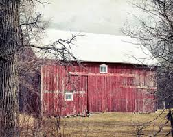 Red Shed Home Decor Red Barn Photography Country Landscape Print Farm Decor Old