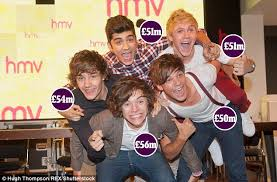 each member of one direction is now worth at least 50m daily