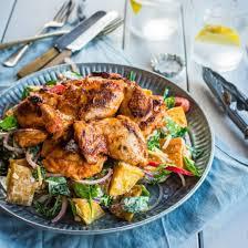 smoky paprika smoked paprika chicken with roast potato spinach salad lim