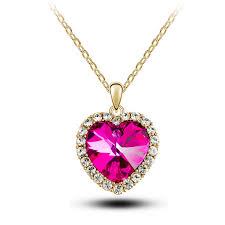 elegant heart necklace images Crystal pendant heart necklace and earring set elegant value jpg