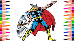 painting thor avengers coloring pages kids coloring