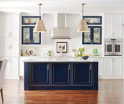 Furniture Style Kitchen Cabinets White Kitchen With Custom Blue Island Omega And Cabinets