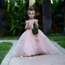 blush pink flower girls dresses appliques ball gown tulle pageant