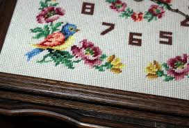 vintage needlepoint floral clock with oak frame with a past