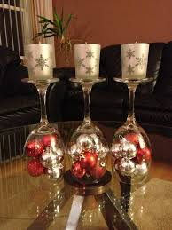 diy wine glasses with small christmas ornaments and