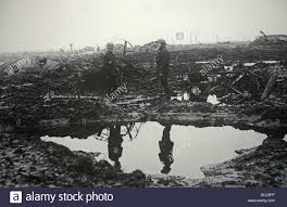 first world war trenches with abandoned tanks on the battlefield