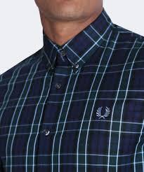 fred perry navy tartan check shirt m2566 608 jules b