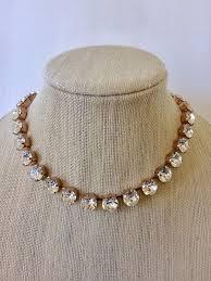 bridal choker necklace images Rose gold swarovski crystal bridal choker necklace the crystal jpeg